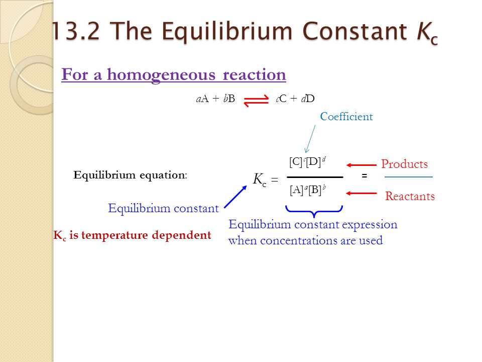 chemical reaction and equilibrium constant expression Because equilibrium can be approached from either direction in a chemical reaction, the equilibrium constant expression and thus the magnitude of the equilibrium constant depend on the form in which the chemical reaction is written the ratio is called the equilibrium constant expression.