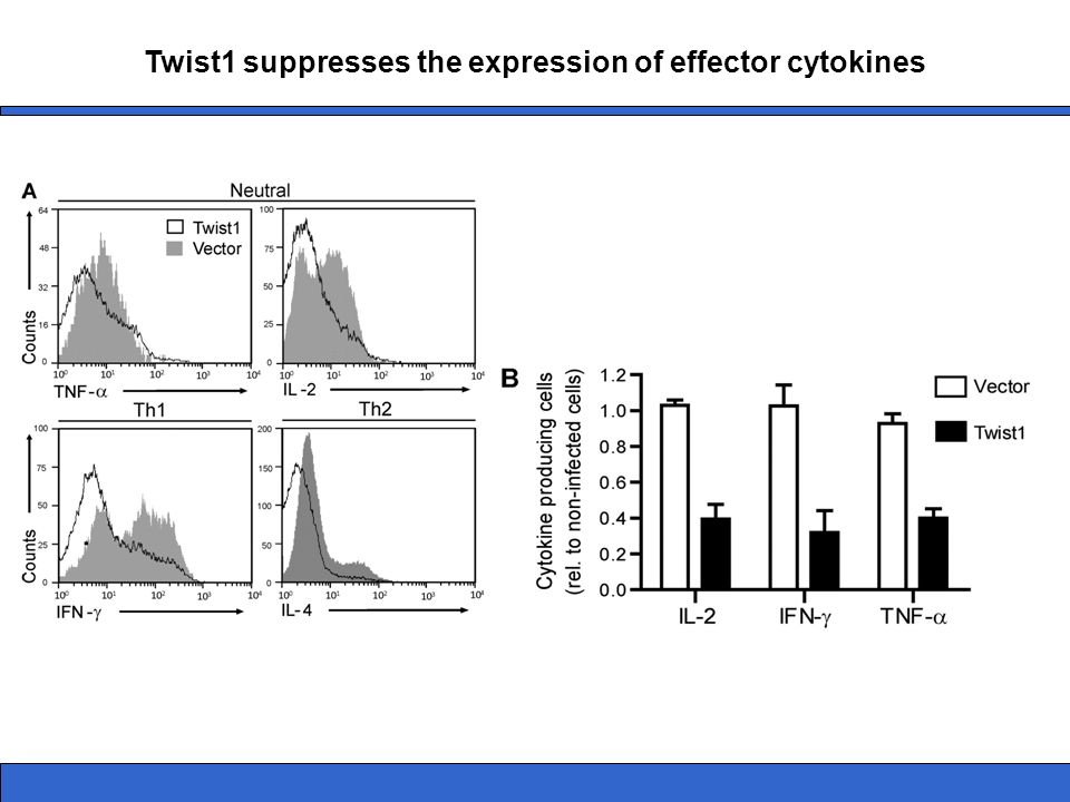 Twist1 suppresses the expression of effector cytokines