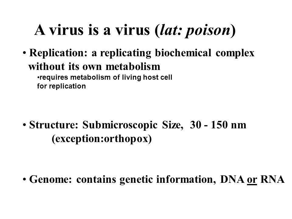 A virus is a virus (lat: poison)