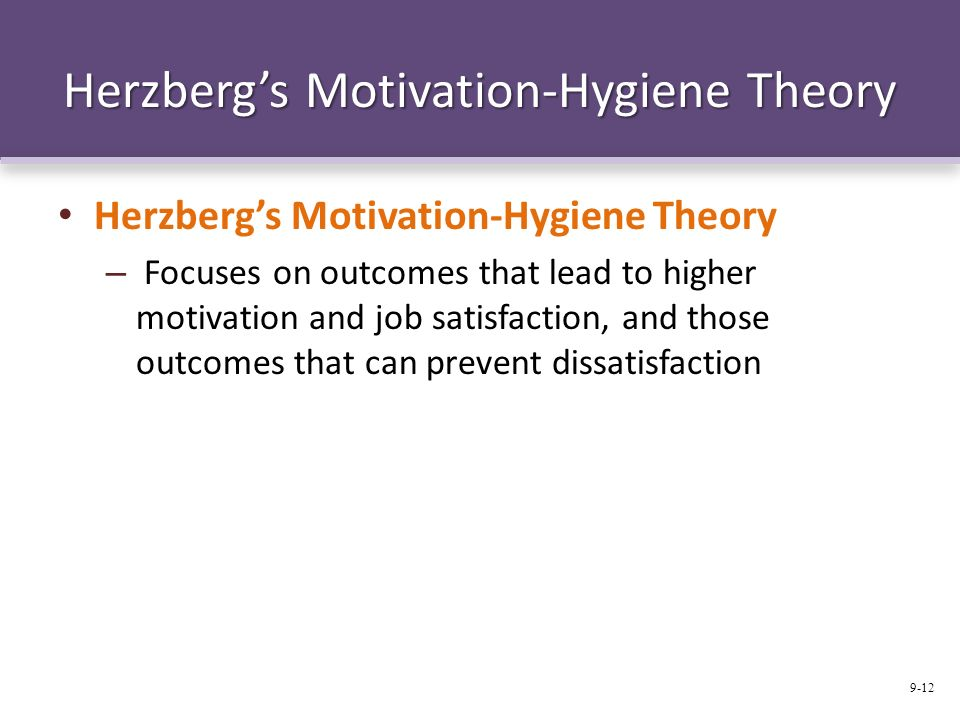 a comparison of the hygiene theory and the hierarchy of needs (iii) relation to maslow theory herzberg's theory is closely related to maslow's need hierarchy on a comparison, one can see that the maintenance or hygiene factors are roughly equivalent to maslow's lower level needs and the motivators are roughly equivalent to maslow's higher level needs 24 achievement motivation.