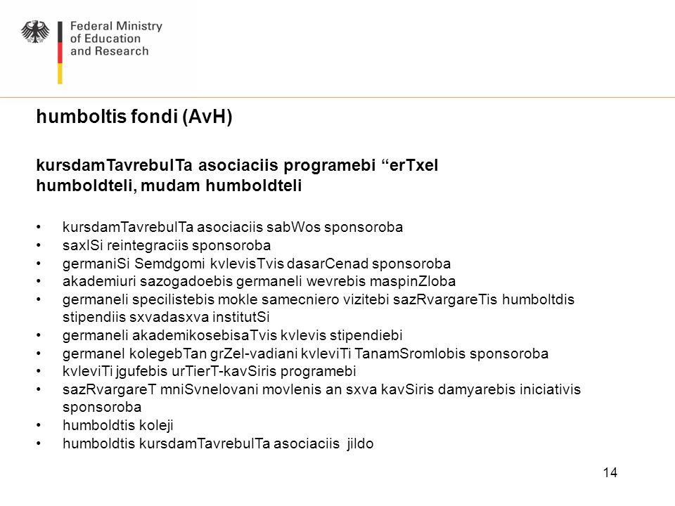 humboltis fondi (AvH) kursdamTavrebulTa asociaciis programebi erTxel