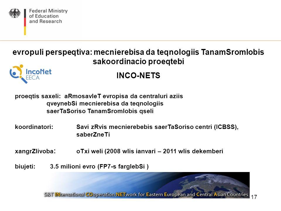 evropuli perspeqtiva: mecnierebisa da teqnologiis TanamSromlobis sakoordinacio proeqtebi