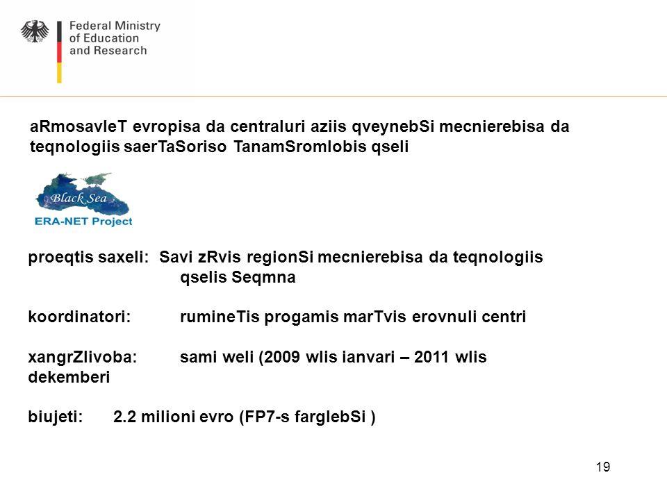 aRmosavleT evropisa da centraluri aziis qveynebSi mecnierebisa da teqnologiis saerTaSoriso TanamSromlobis qseli