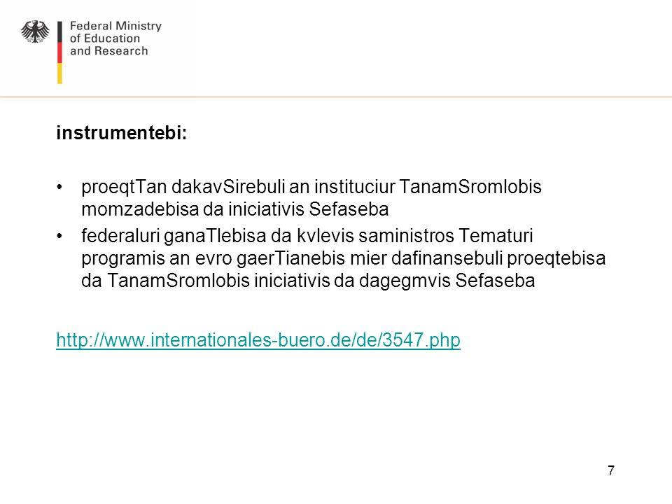 instrumentebi: proeqtTan dakavSirebuli an instituciur TanamSromlobis momzadebisa da iniciativis Sefaseba.