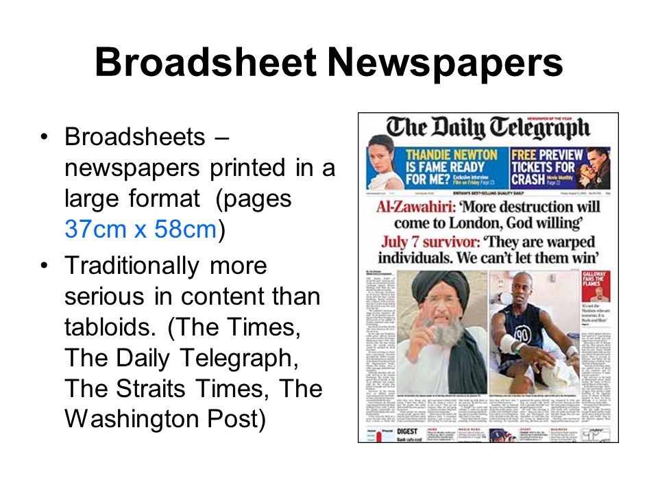 essay on tabloids and broadsheets Essay preview more ↓ a comparison of broadsheets vs tabloids there are  two main types of newspaper which are on sale in this country the first type is.