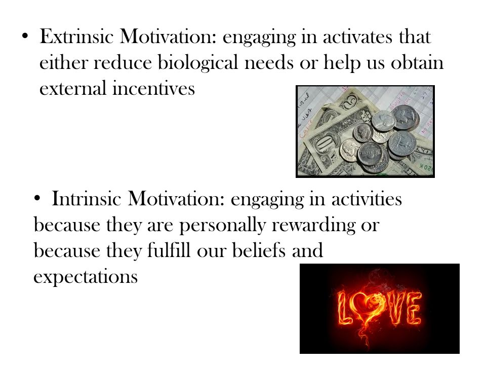 Extrinsic Motivation: engaging in activates that either reduce biological needs or help us obtain external incentives