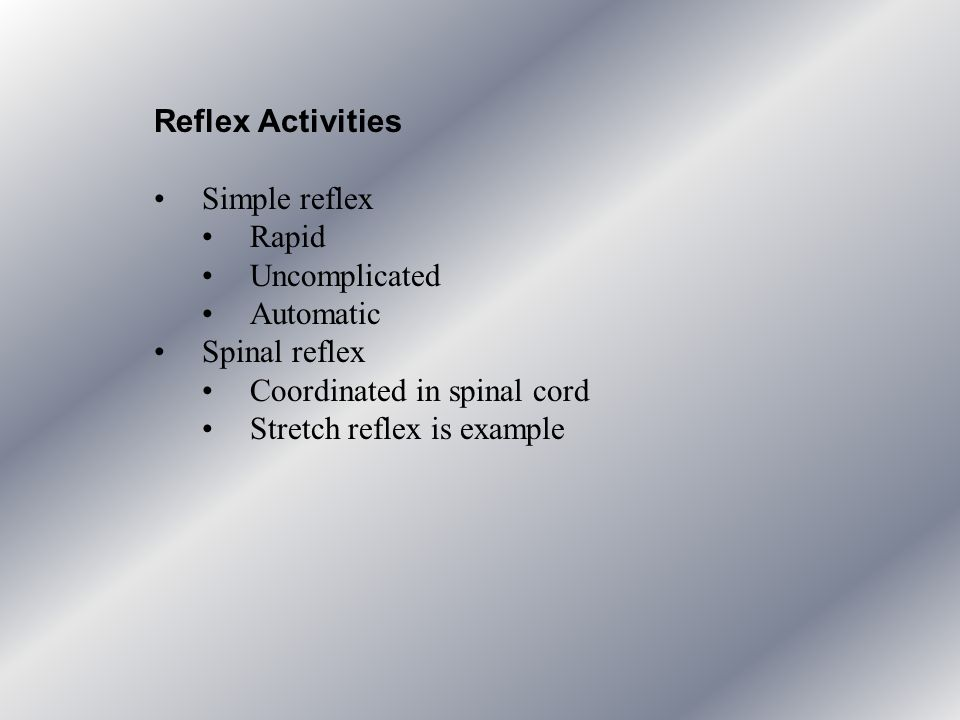 Reflex Activities Simple reflex. Rapid. Uncomplicated. Automatic. Spinal reflex. Coordinated in spinal cord.