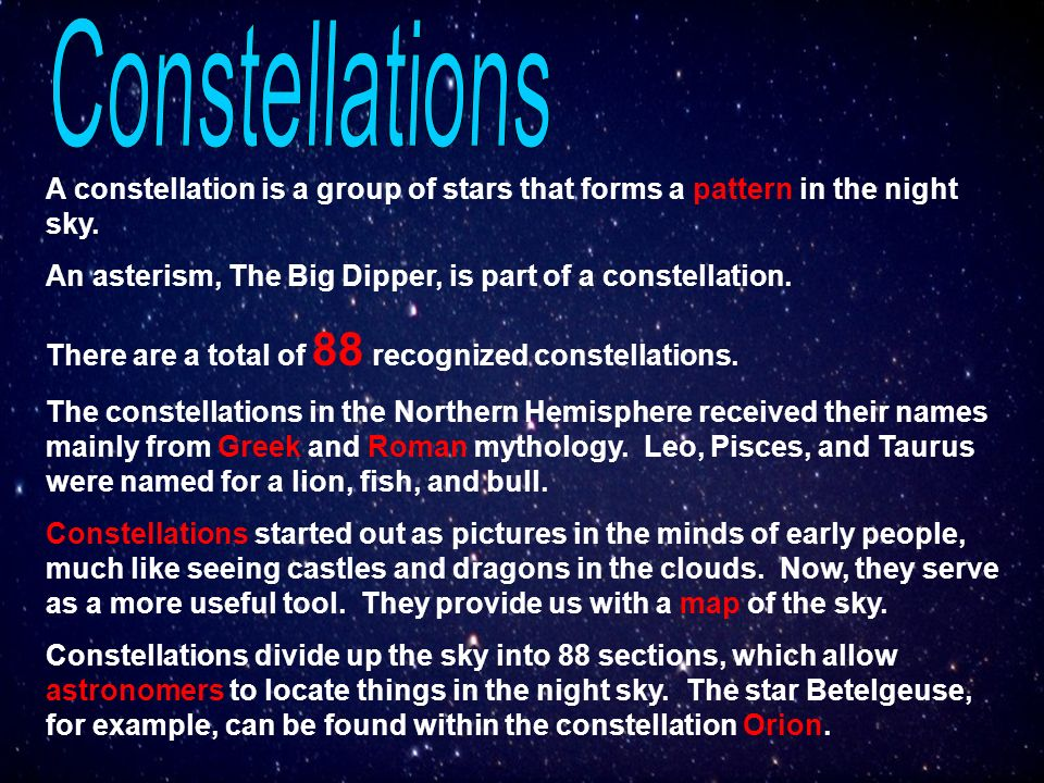 Constellations A Constellation Is A Group Of Stars That Forms A Pattern In The Night Sky