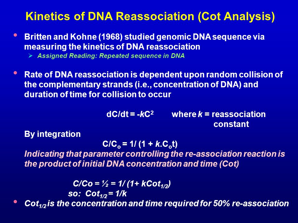 Kinetics of DNA Reassociation (Cot Analysis)