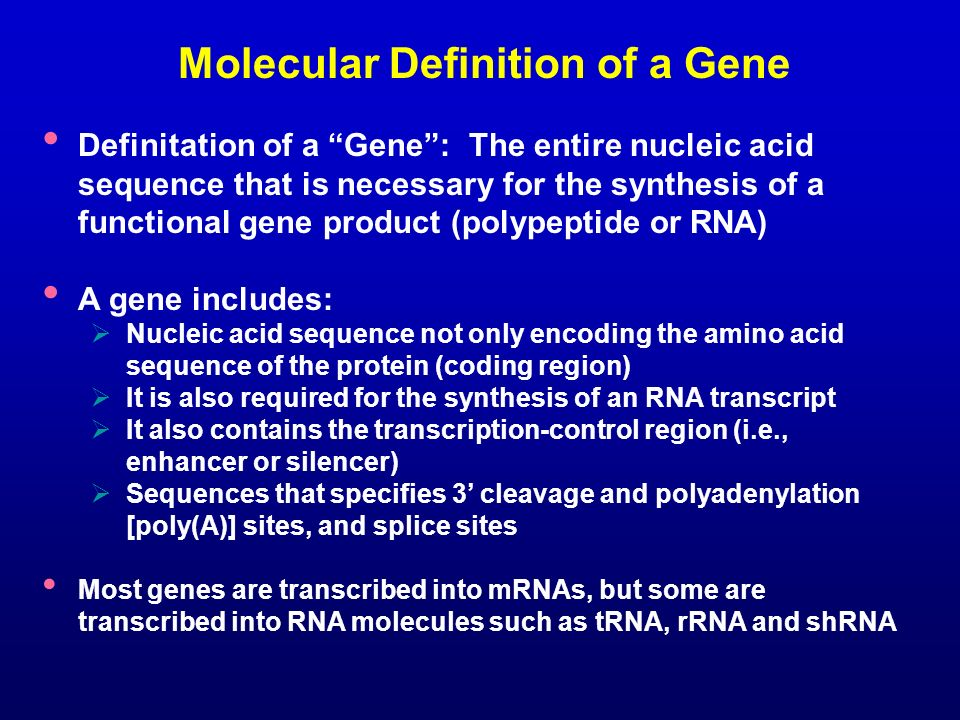 Molecular Definition of a Gene