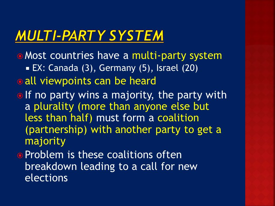 why a multi party system in pakistan Two-party system: two-party system, political system in which the electorate gives its votes largely to only two major parties and in which one or the other party can win a majority in the legislature.