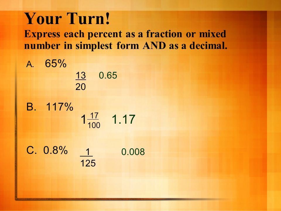 Chapter 6 Lesson 4 Fractions, Decimals, & Percents Pgs - ppt video ...