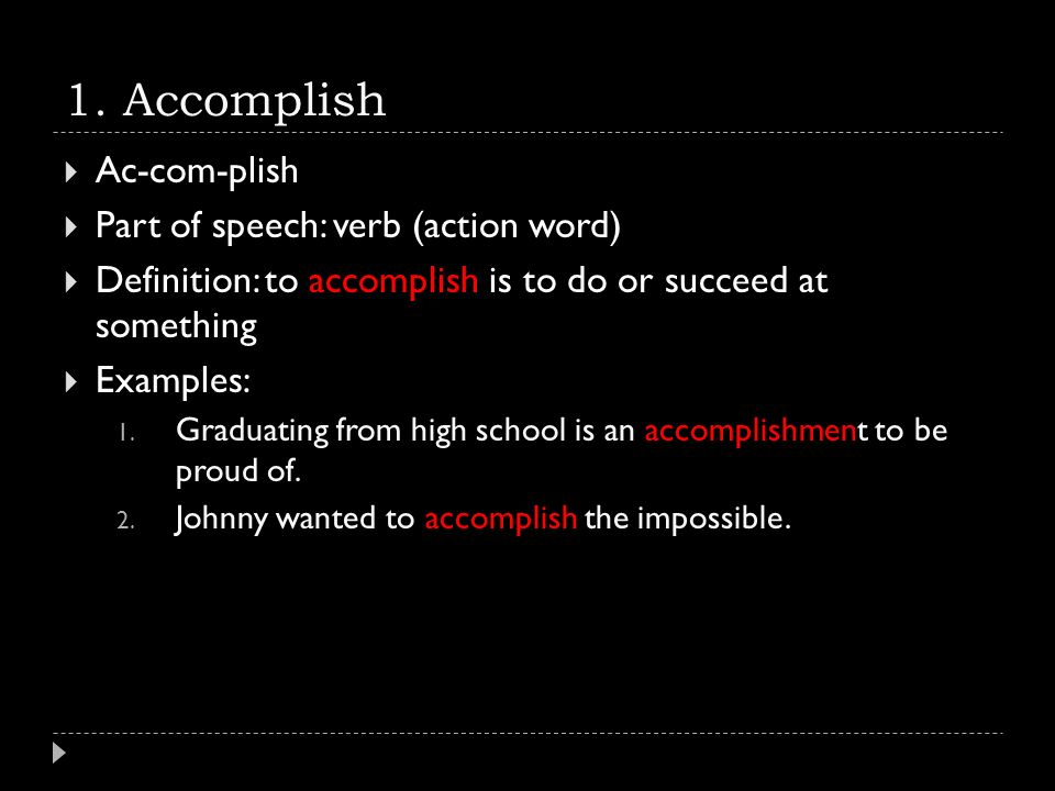 accomplishment verbs
