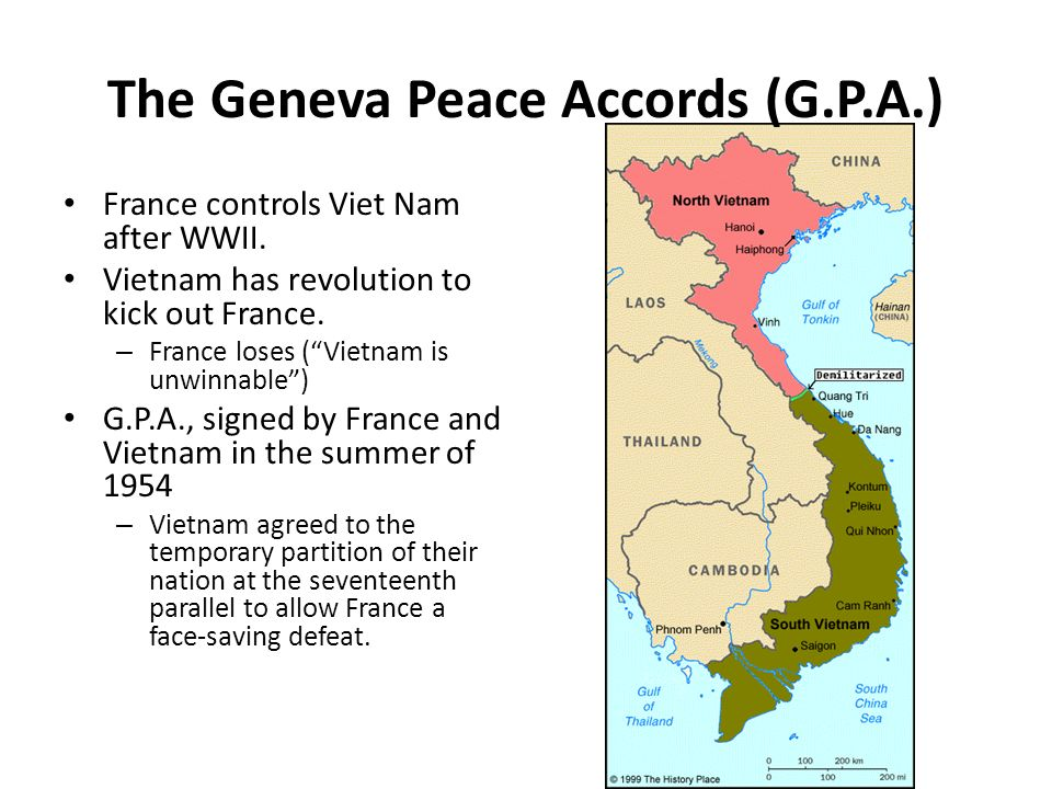 north vietnam and geneva peace agreement The geneva accords also provided a 300 day grace period, so that civilians could relocate to north or south vietnam the united states began providing assistance to those vietnamese who wanted to move south.