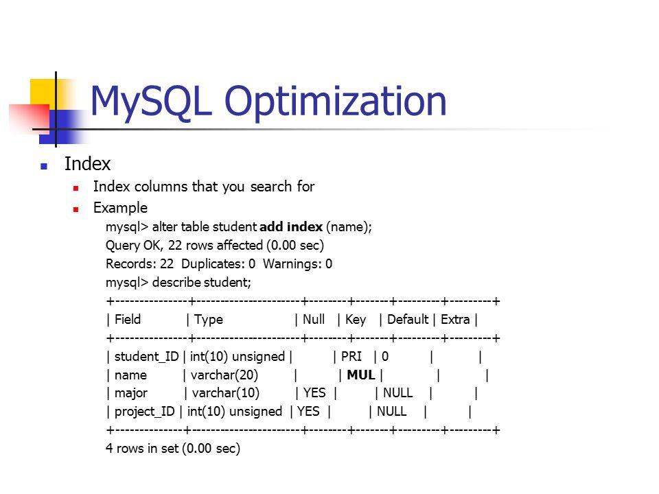 24 MySQL Optimization ...