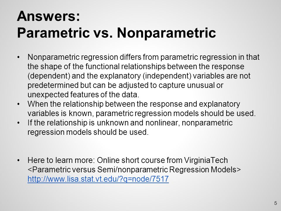 parametric vs nonparametric
