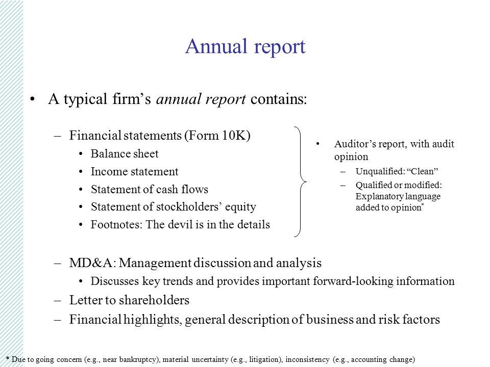 Financial accounting john shon ppt video online download annual report a typical firms annual report contains sciox Gallery