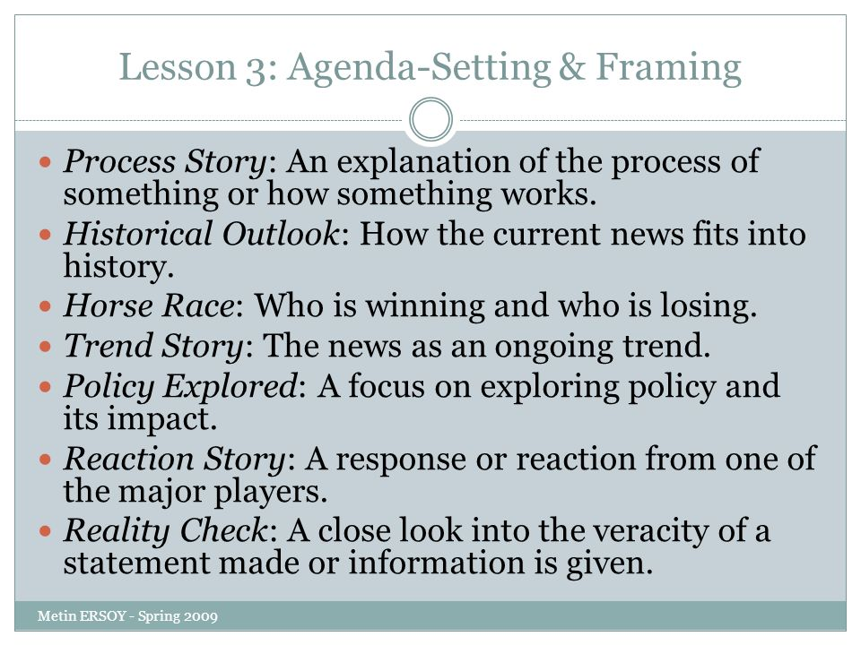 agenda setting framing and degree of Las hipótesis de la agenda setting en el nuevo entorno mediático  the media  ecosystem has experienced a 180-degree turn  2001), from a social point of  view and as human experience framed by the use of these systems (kiousis,  2002),.