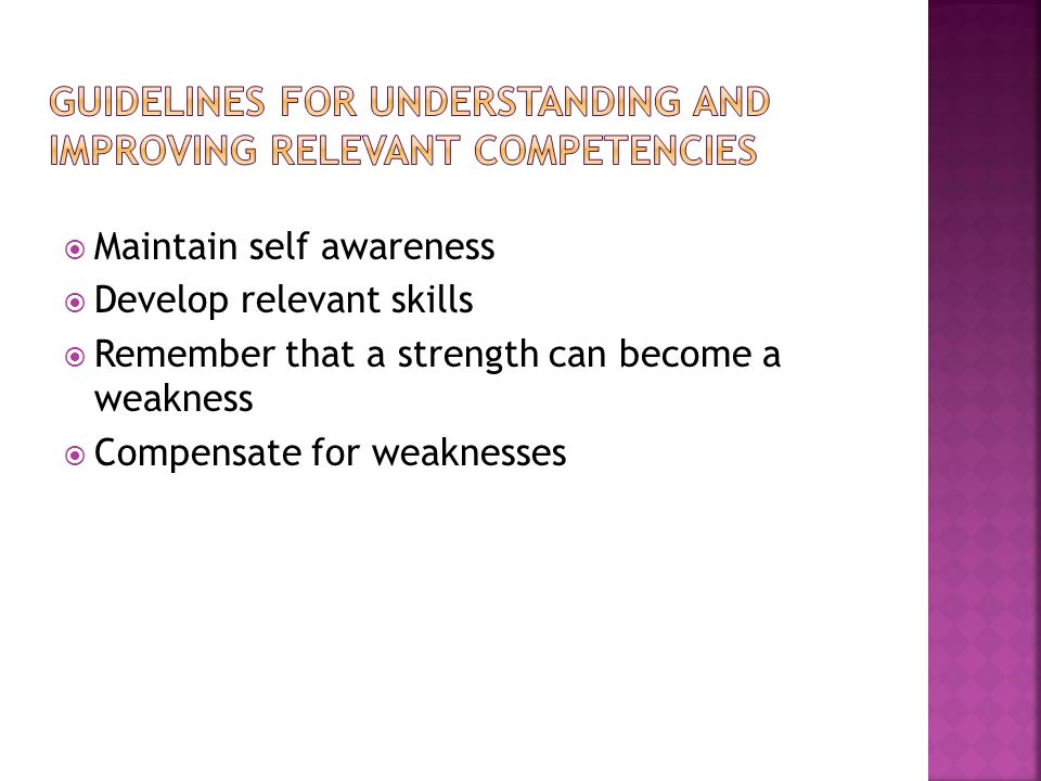 GUIDELINES FOR UNDERSTANDING AND IMPROVING RELEVANT COMPETENCIES