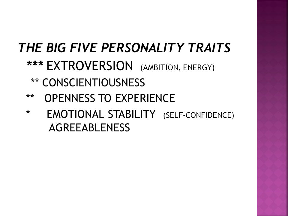 THE BIG FIVE PERSONALITY TRAITS *** EXTROVERSION (AMBITION, ENERGY)