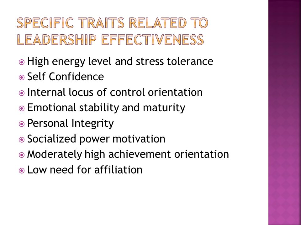 Specific Traits related to leadership effectiveness