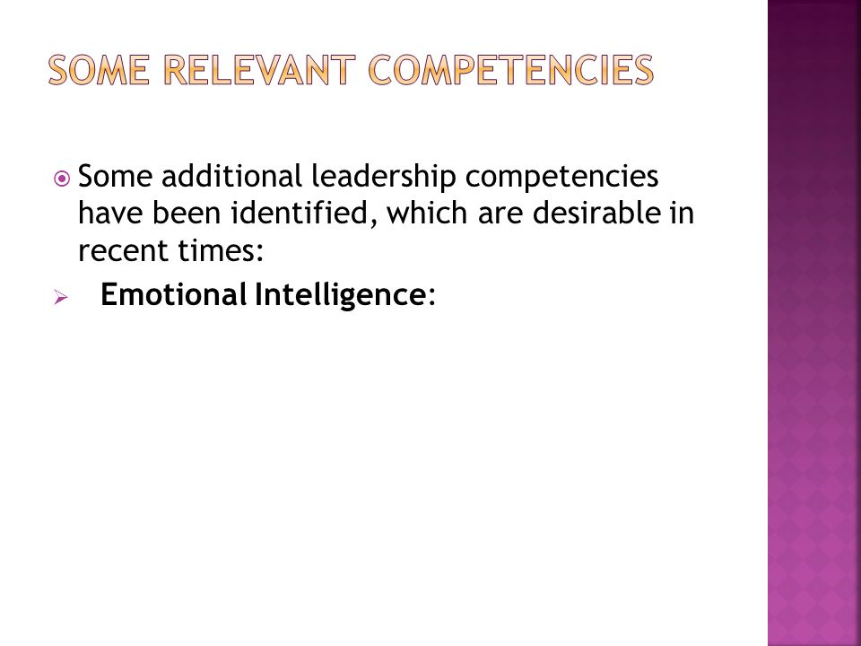 Some relevant competencies