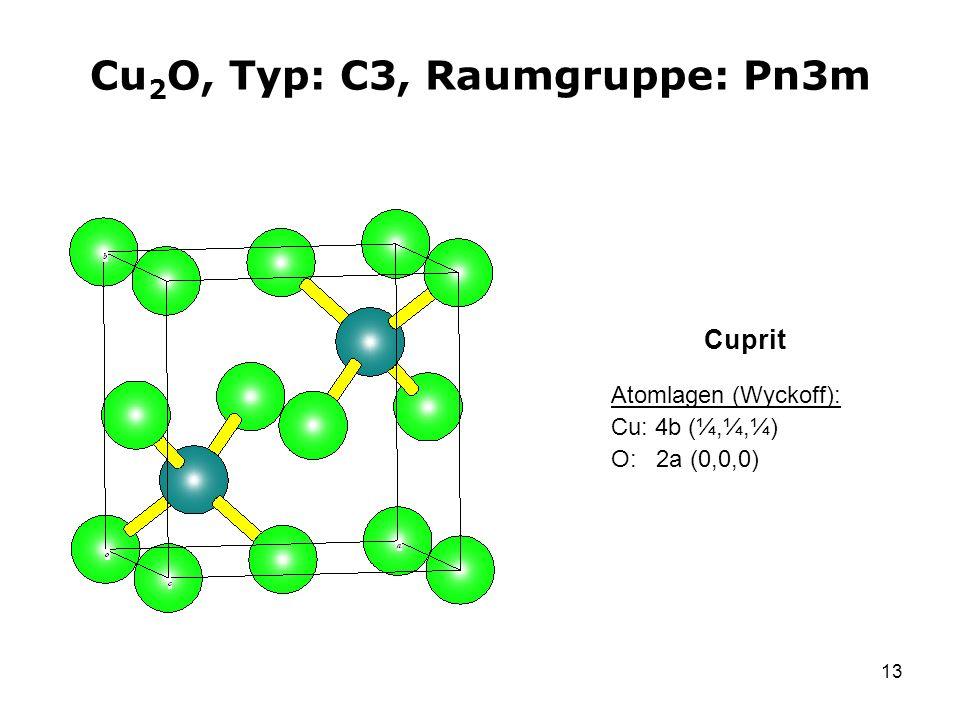 Cu2O, Typ: C3, Raumgruppe: Pn3m