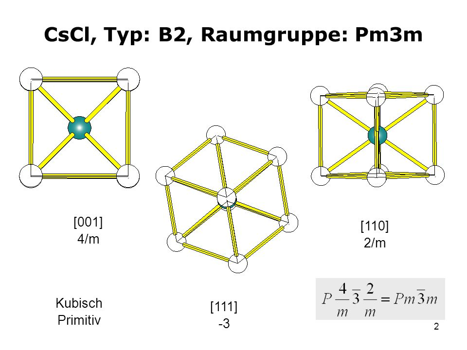 CsCl, Typ: B2, Raumgruppe: Pm3m