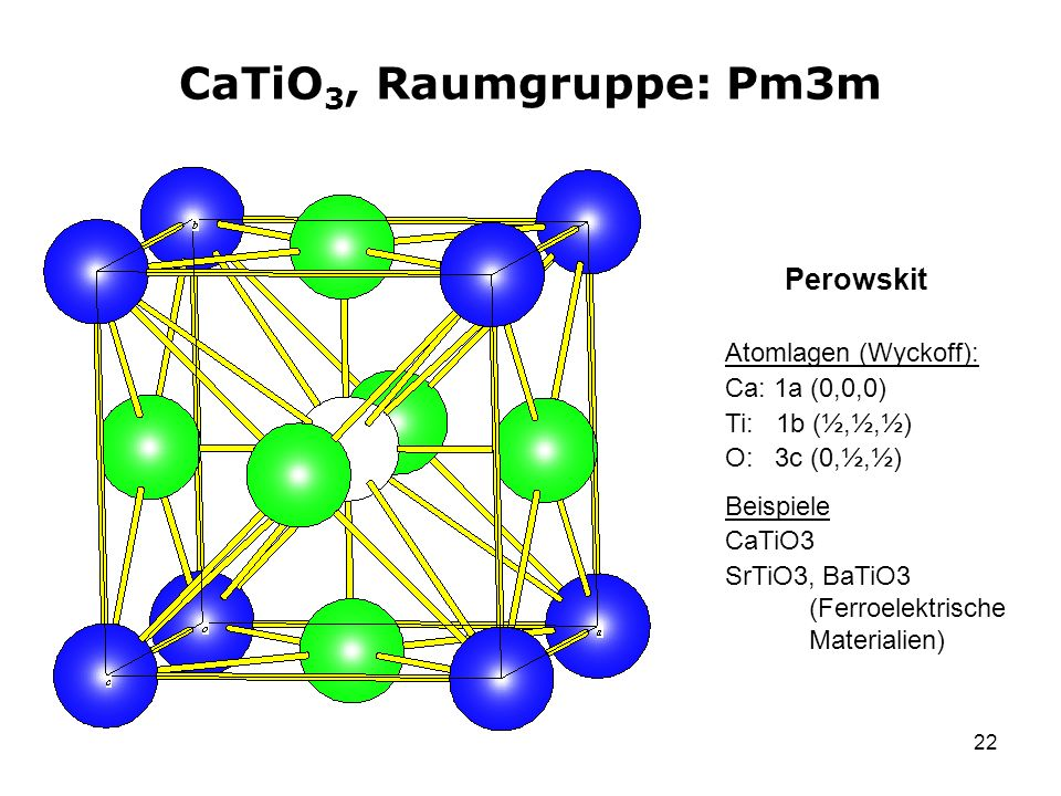 CaTiO3, Raumgruppe: Pm3m Perowskit Atomlagen (Wyckoff): Ca: 1a (0,0,0)