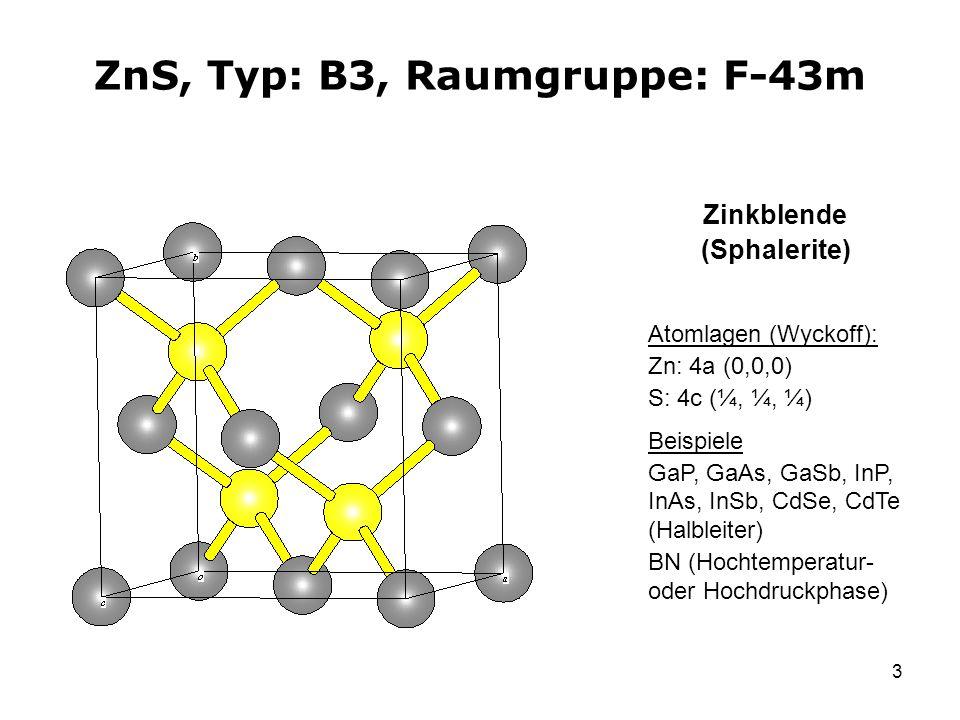 ZnS, Typ: B3, Raumgruppe: F-43m