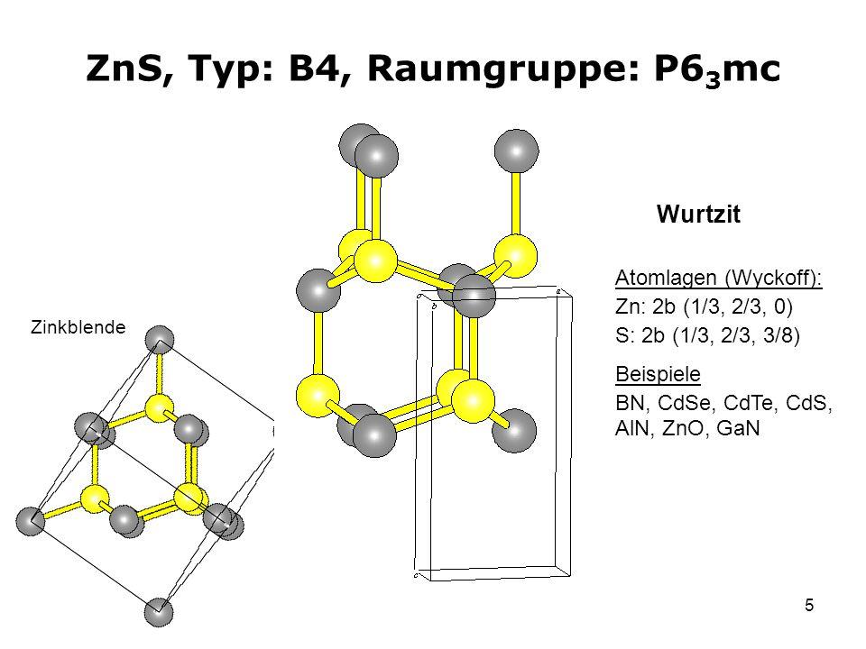 ZnS, Typ: B4, Raumgruppe: P63mc