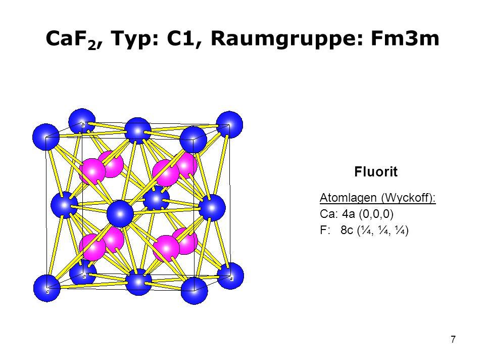CaF2, Typ: C1, Raumgruppe: Fm3m