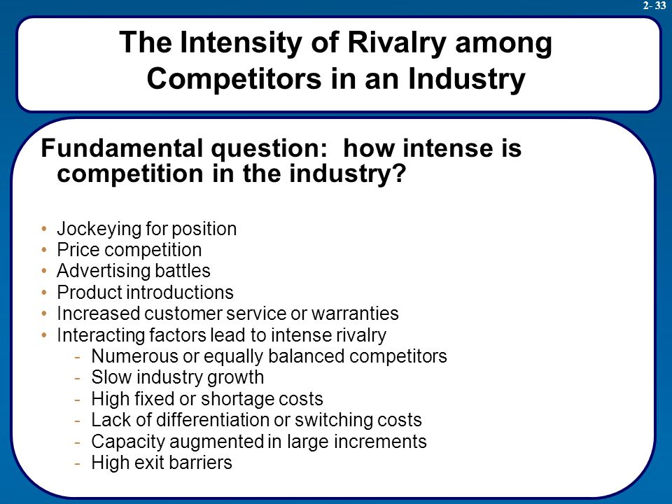 intensity of rivalry among competitors marketing essay Read this essay on 5 forces spotify the intensity of rivalry among firms varies across industries a high degree of competition (industry rivalry.