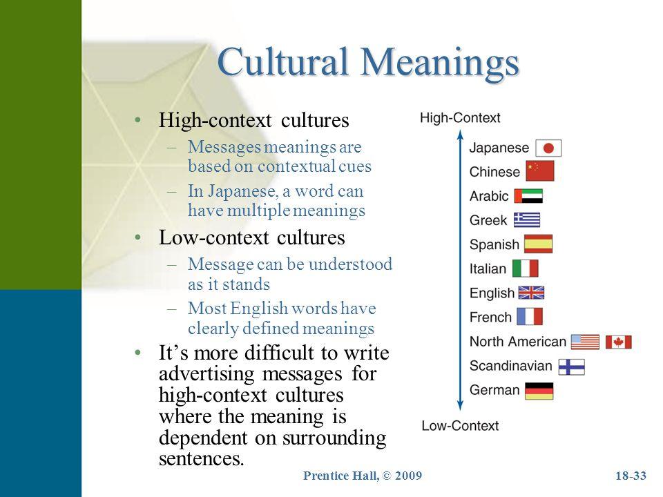 high context culture 高・低文脈文化とは高文脈文化(high-context cultures)と低文脈文化(low-context cultures)をまとめて呼ぶ際の用語。高コンテクスト文化と低コンテクスト文化とも呼ぶ。.