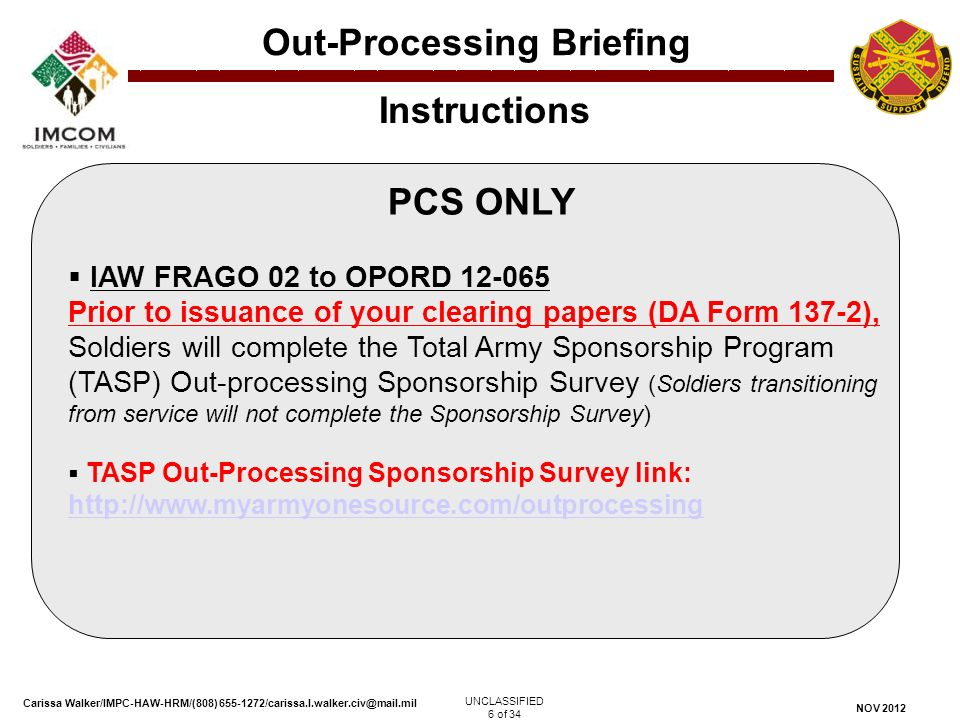 In/Out-Processing (IOP) Section Out-Processing Briefing - ppt ...