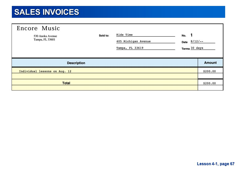 SALES INVOICES Lesson 4-1, page 67