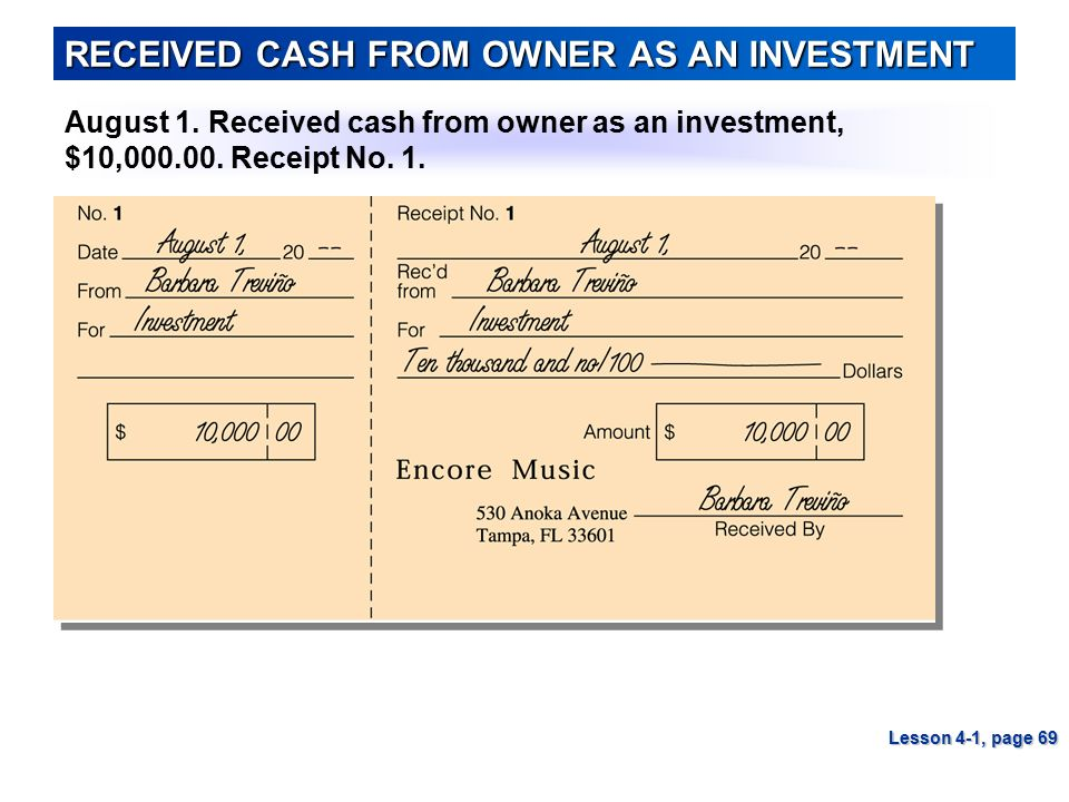 RECEIVED CASH FROM OWNER AS AN INVESTMENT