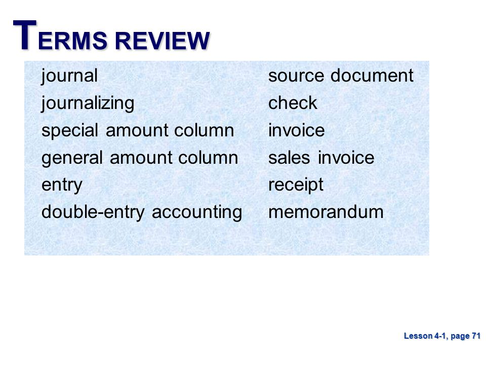 TERMS REVIEW journal journalizing special amount column