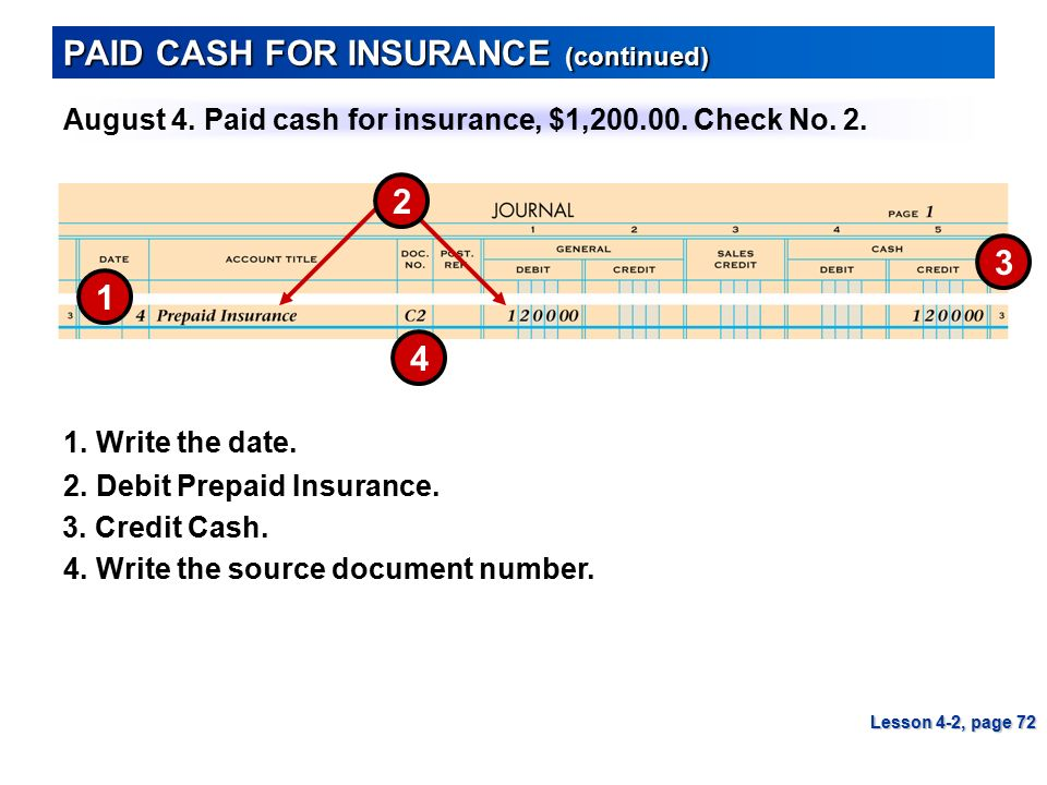 PAID CASH FOR INSURANCE (continued)
