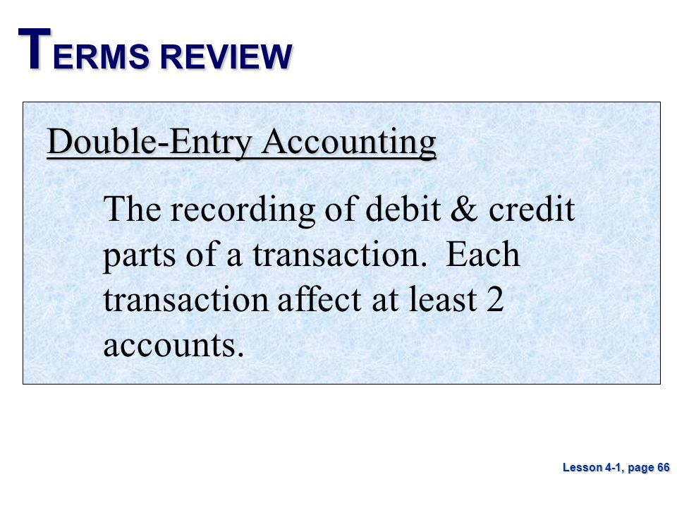 TERMS REVIEW Double-Entry Accounting