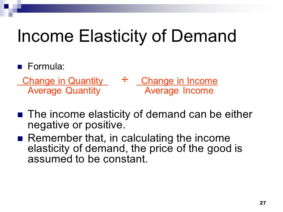 income elasticity of demand This topic video looks at income elasticity of demand and in particular the distinction between normal and inferior goods.