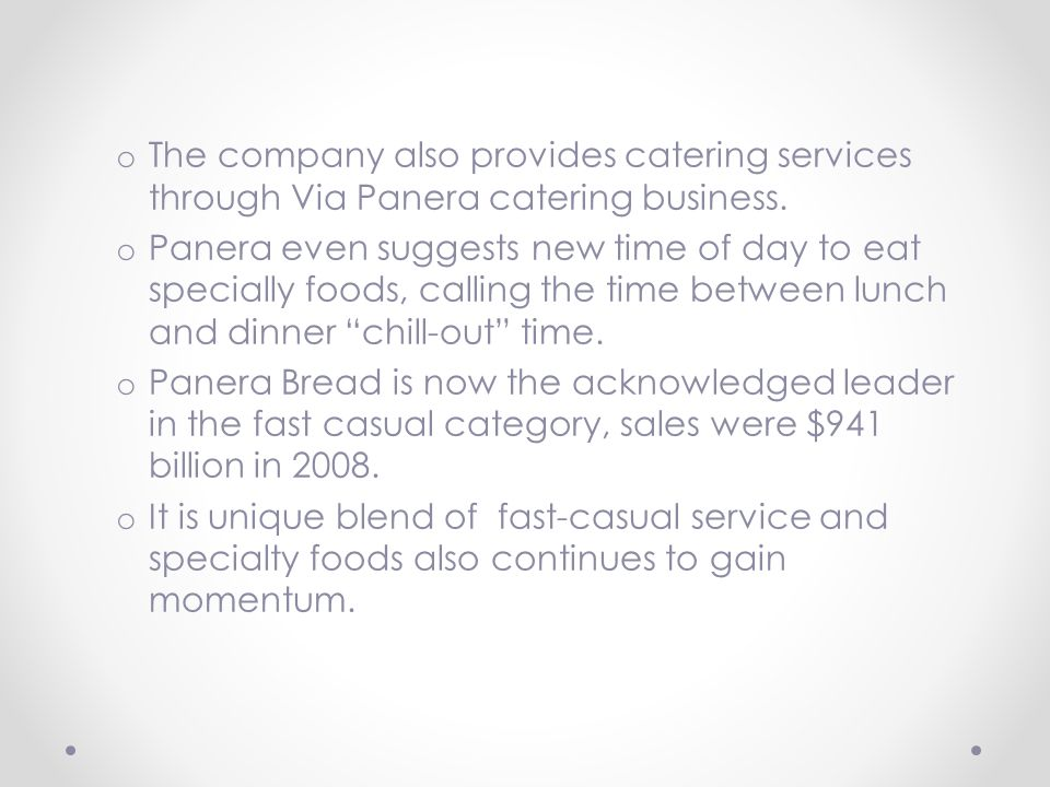 how has panera bread established a unique position in the restaurant industry Panera is doing a good job of improving its competitive position within the industry although it operates in a highly competitive industry, panera has done a good job of differentiating itself.