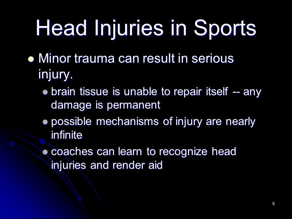 head injuries in sports Traumatic brain injury results from an impact to the head that disrupts normal brain function traumatic brain injury may affect a person's cognitive abilities, including learning and thinking skills falls are the leading cause of traumatic brain injury for all ages those aged 75 and older have.