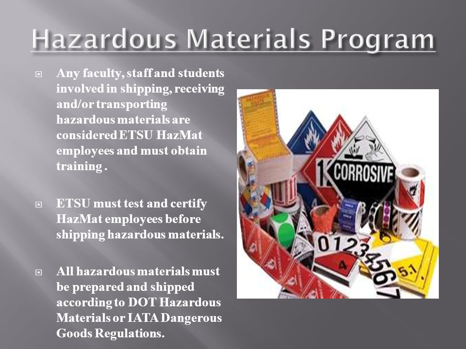 transportation of hazardous material strategies Material safety data sheets (msds) for all hazardous materials used, produced, or stored on a facility's property msds have varying formats, but will consist of the.