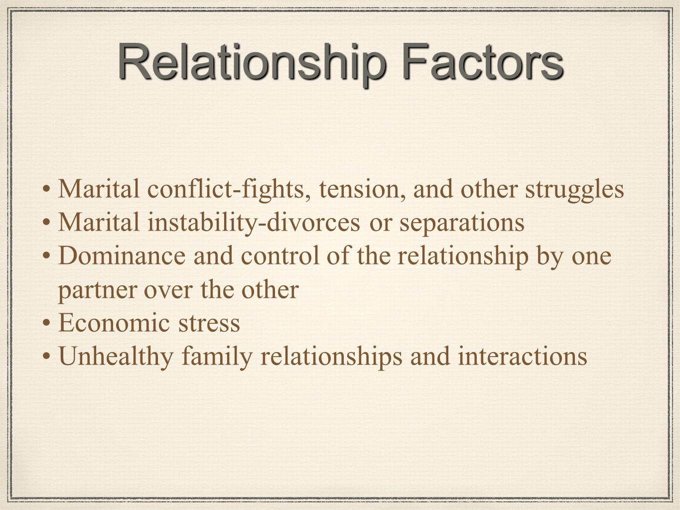 California factors in a dating relationship