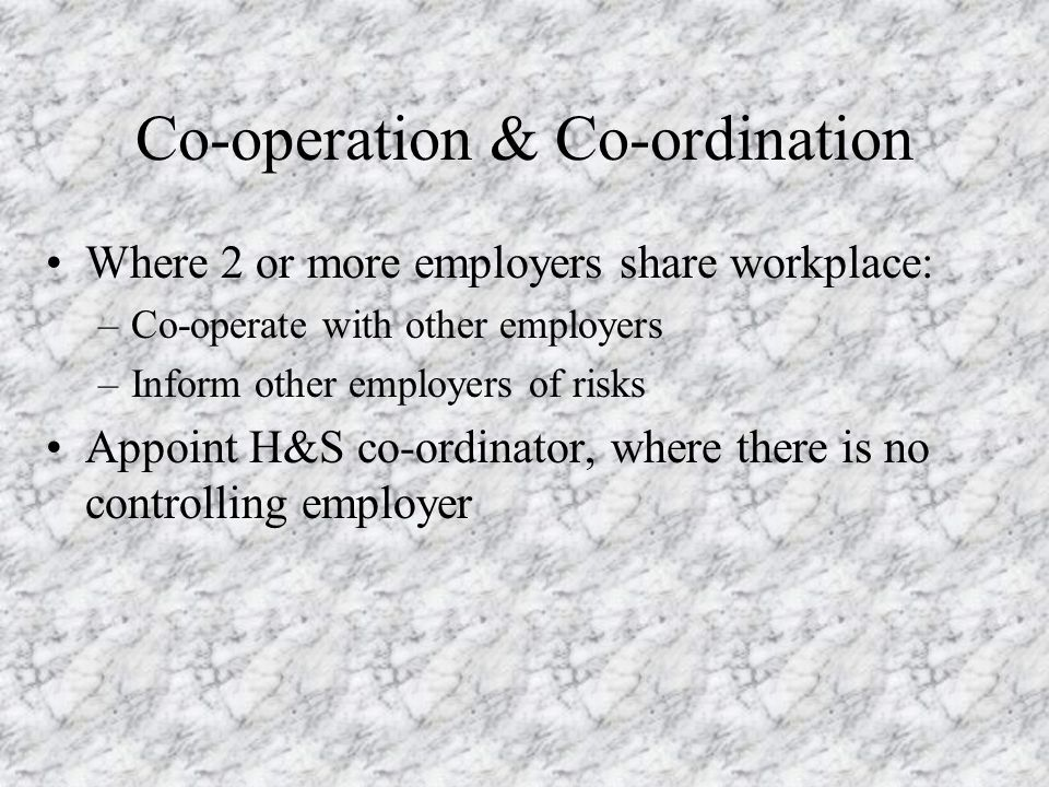 Co-operation & Co-ordination