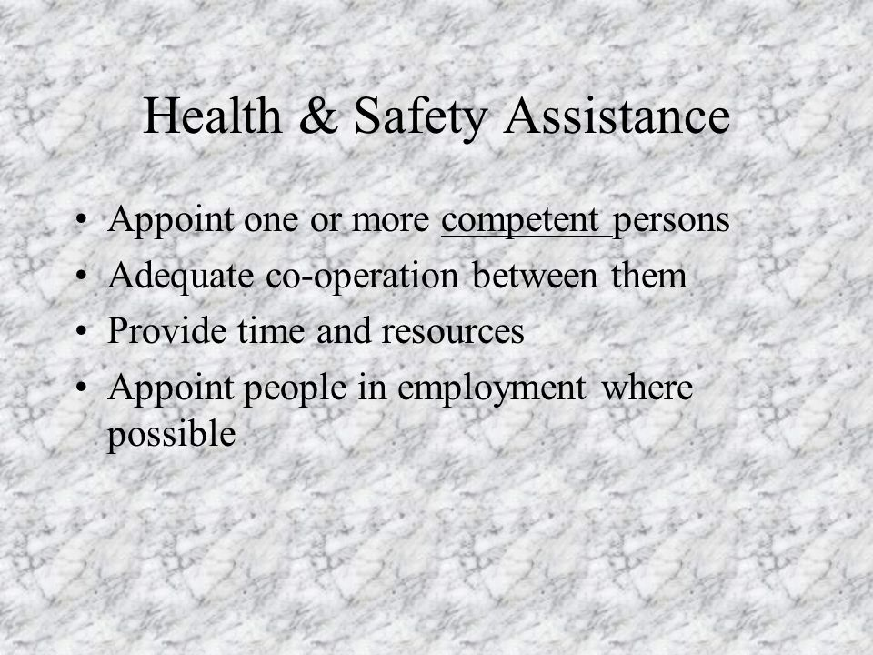 Health & Safety Assistance
