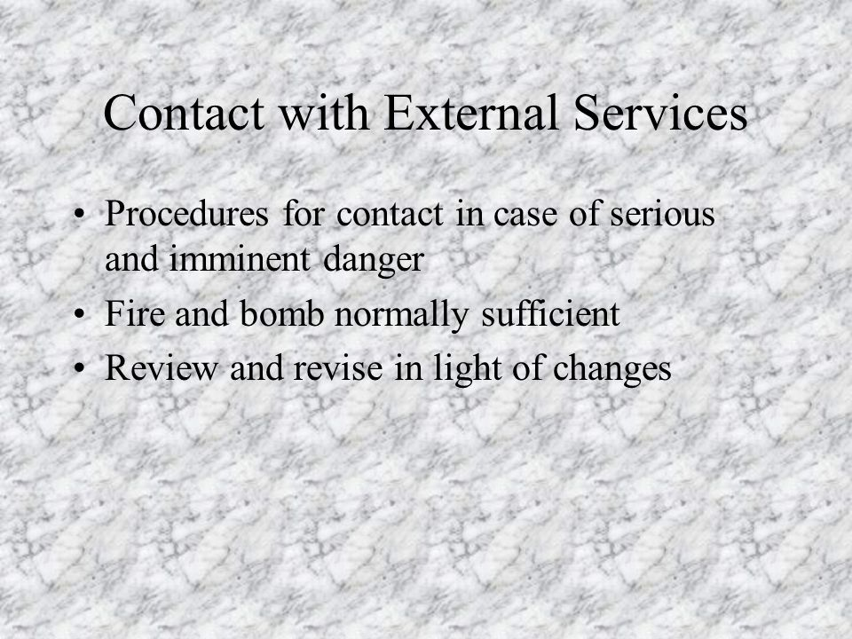 Contact with External Services