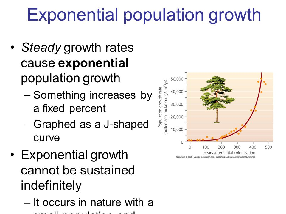 exponential population growth Exponential growth is common in physical processes such as population growth in the absence of predators or resource restrictions (where a slightly more general form is known as the law of growth) exponential growth also occurs as the limit of discrete processes such as compound interest.
