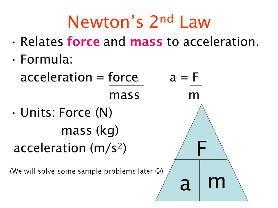 how to work out acceleration with mass and force